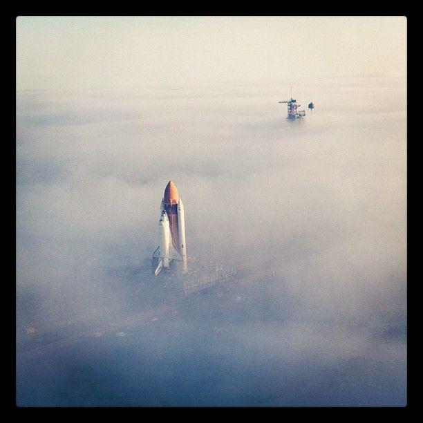 Space Shuttle Challenger through the Florida fog #nasa #space