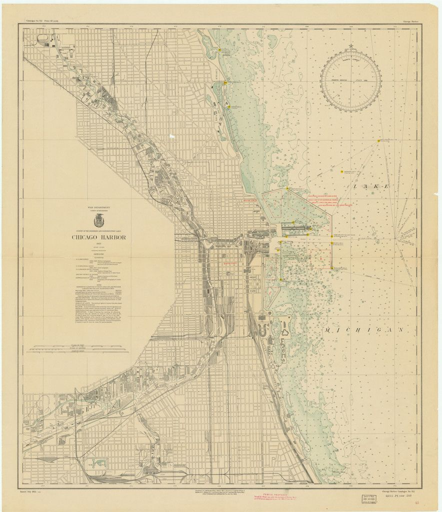 Lake Michigan Chicago Harbor Historical Map  Lake Michigan - Chicago map lake michigan