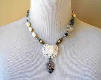 French Religious Meerschaum Necklace Assemblage by Vinchique