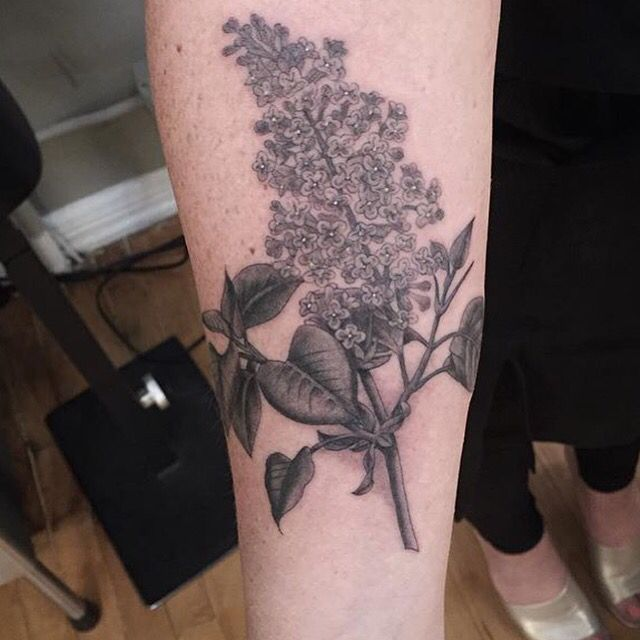 Black And White Lilac Tattoo By Tyler Borich At Memoir Tattoo Lilac Tattoo Tattoos Forarm Tattoos