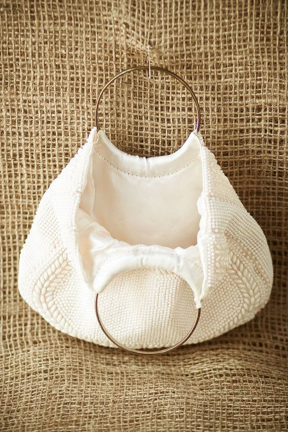Vintage Cream Beaded Handbag Sac with Gold Round Loop Handles
