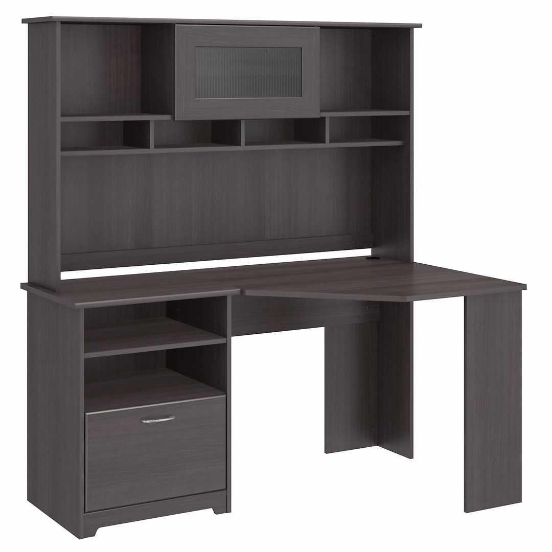 60W Corner Desk with Hutch - Heather Gray / Unique / Various