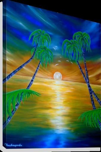 painting, art, tropical, seascape, palmtrees,sunset,sunrise ...