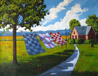 Patty Baker Fine Art Blog Original Acrylic Paintings Quilts Blowing In Afternoon Breeze Commission Update Farm Paintings Country Art Art