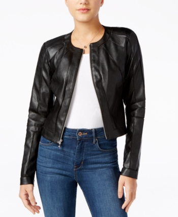 033255573 Guess Ivonne Faux-Leather Moto Jacket - Black XS | Products in 2019 ...
