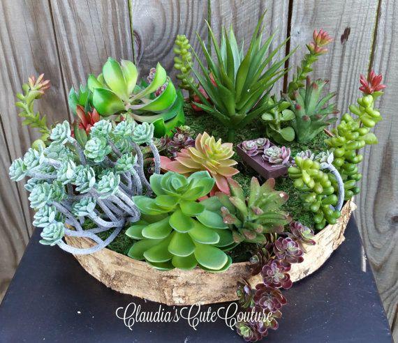 Succulent Arrangement,Table Centerpiece,Artificial Succulent Arrangement,Succulent  Centerpiece On Container Cover With Birch Bark,Succulent
