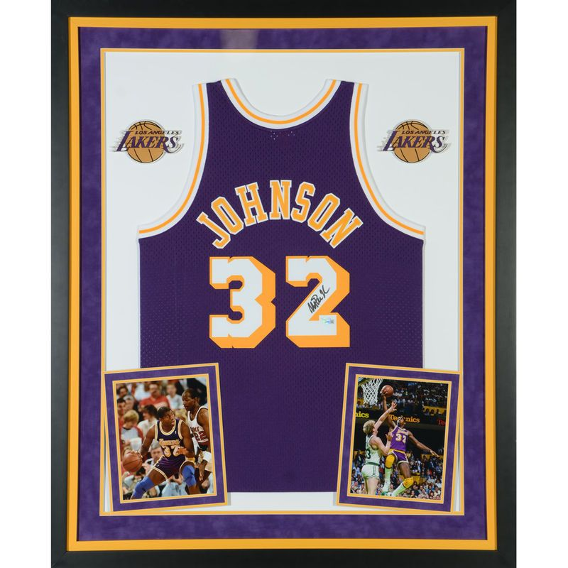 64466f478 Magic Johnson Los Angeles Lakers Fanatics Authentic Deluxe Framed  Autographed Purple Mitchell   Ness Hardwood Classics Swingman Jersey