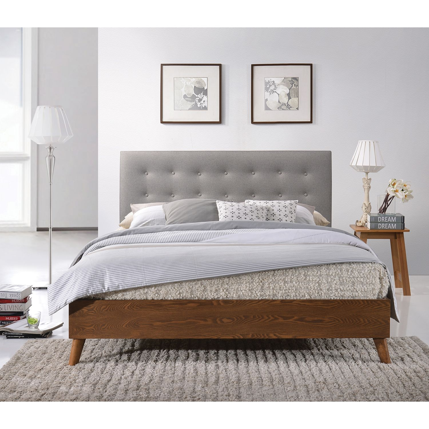 Gino Wooden Bed With Fabric Headboard Next Day Select Day