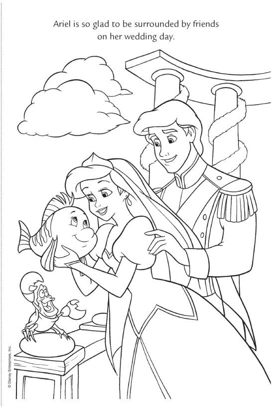 Eric Holding Hands Ariel Coloring Pages Ariel Coloring Pages