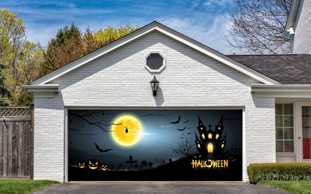 Garage Door Covers halloween garage door decorations billboard covers decor pumpkin