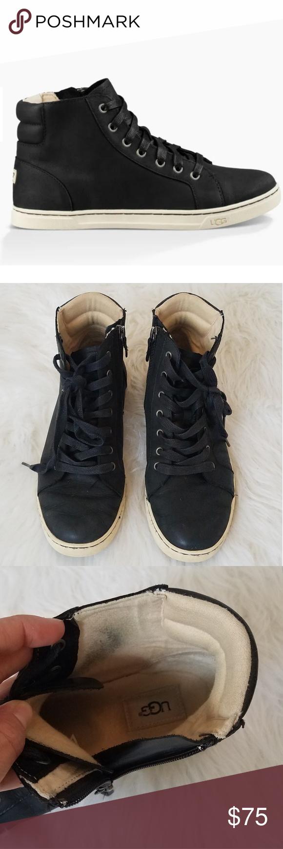 6cad7571102 UGG Gradie Black Leather High Top Sneaker UGG Gradie Black Leather ...