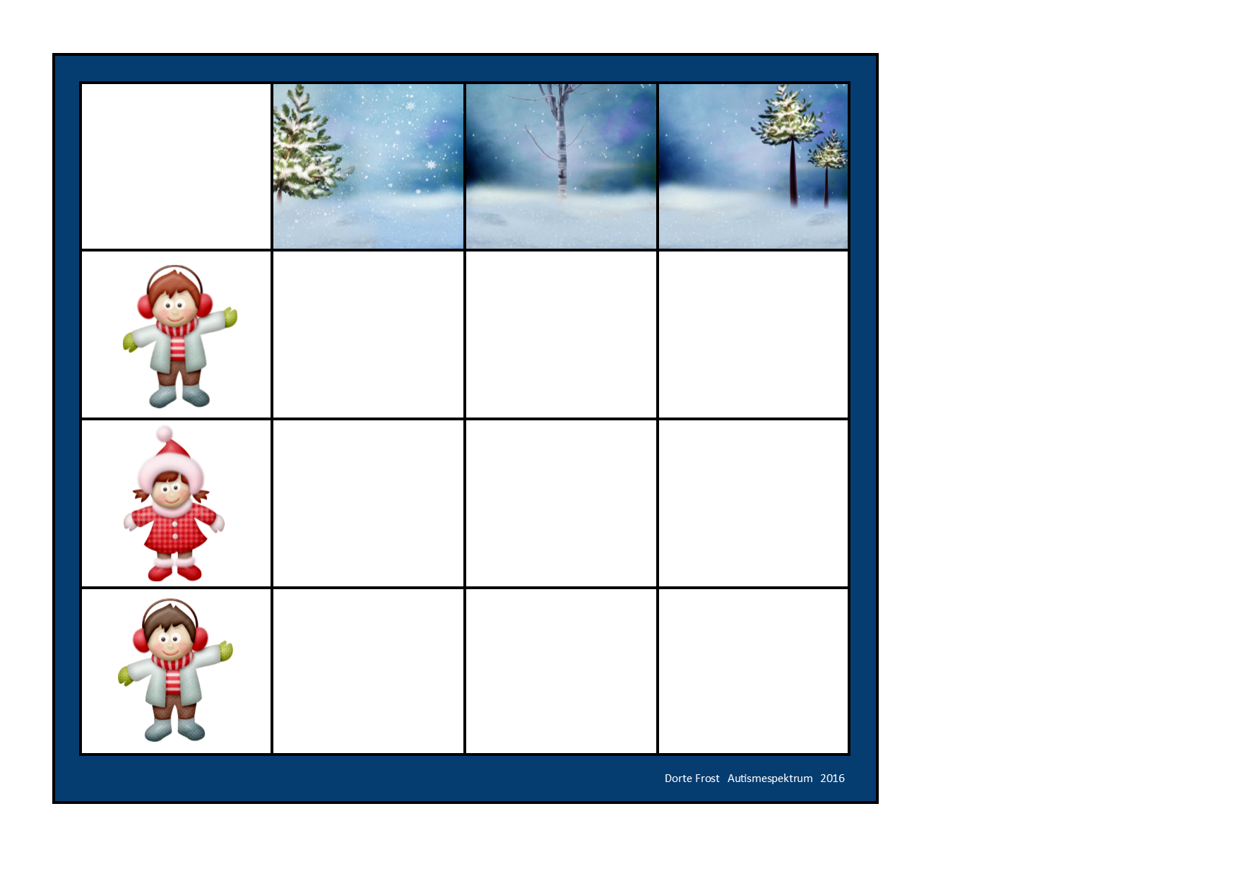 Board for the winter matrix game. Find the belonging tiles on Autismespektrum on Pinterest. By Autismespektrum.