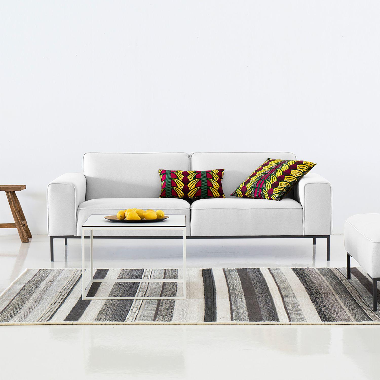 Sofa Ampio 3 Sitzer Webstoff Schwarz Stoff Naya Grau Beige