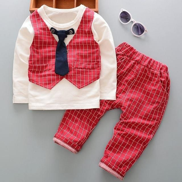 Spring fashion children s clothing set Baby boy clothes suit sets gentleman  cotton Boy s long sleeve ... dcfdb7a0f85