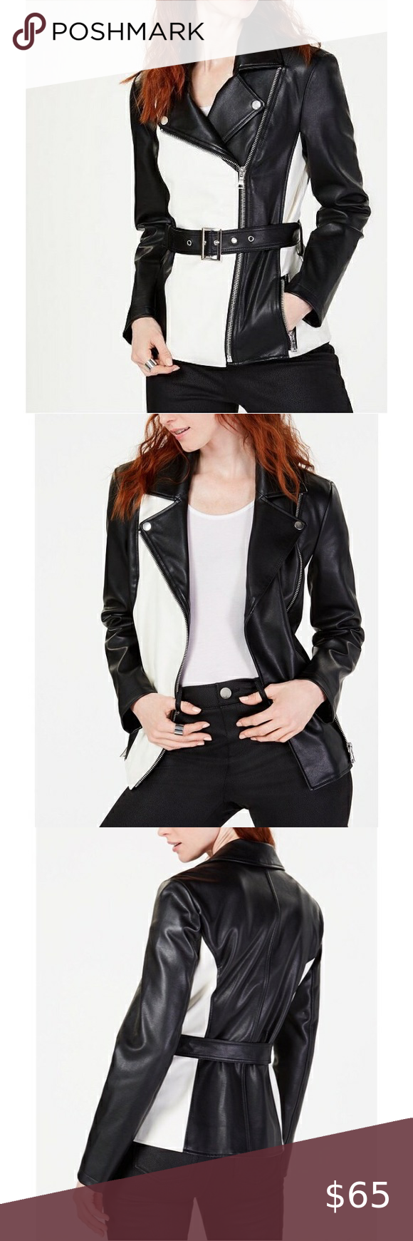 I N C Colorblocked Faux Leather Jacket L Nwt Leather Jacket Faux Leather Jackets Clothes Design [ 1740 x 580 Pixel ]
