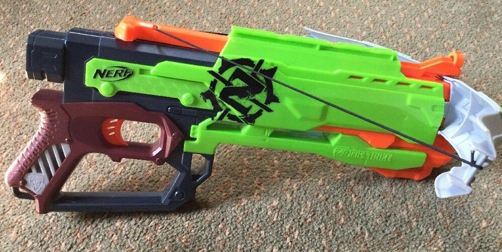 Nerf Zombie Strike Crossfire Bow Blaster Crossbow Dart Gun Good used