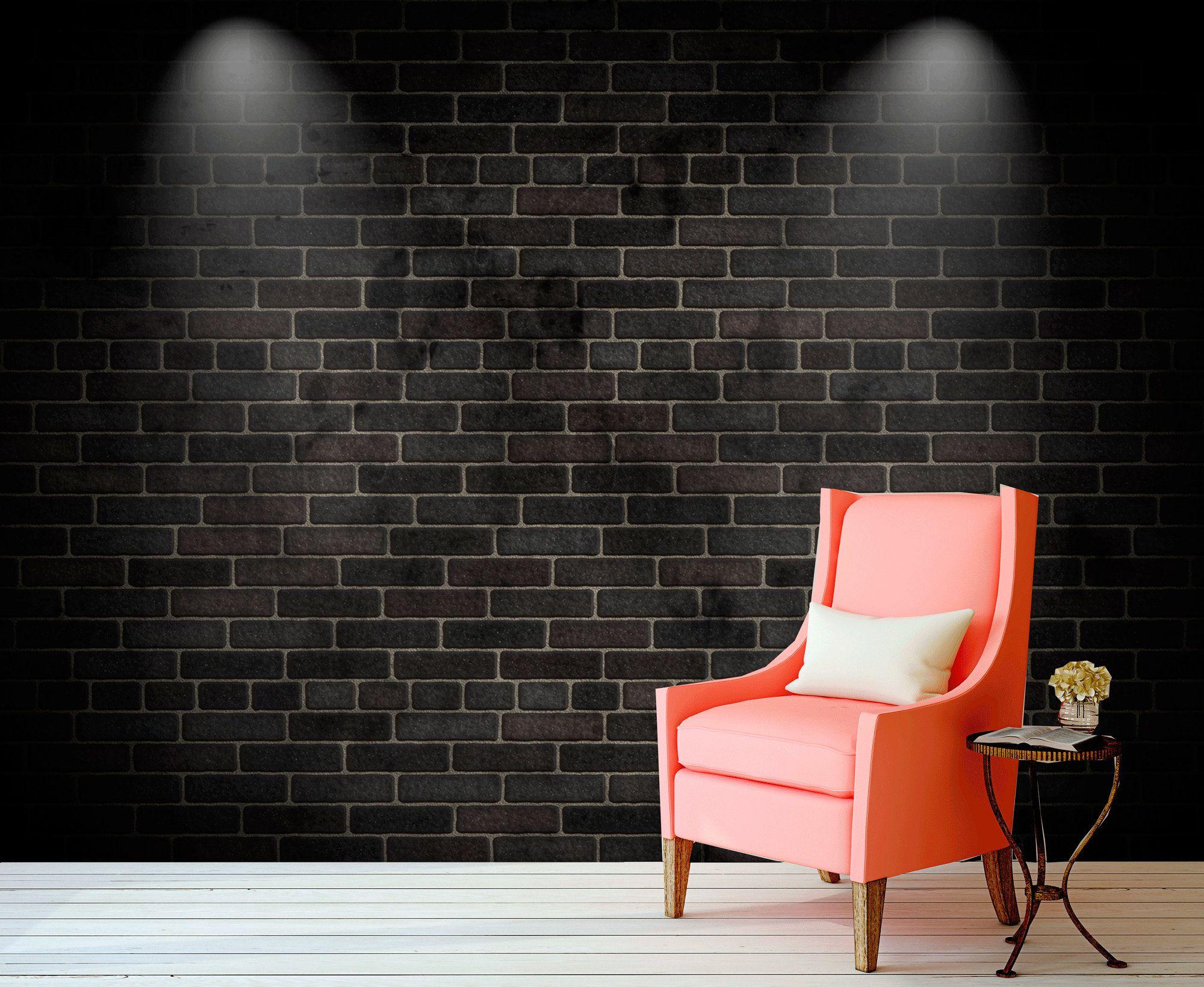 Dark Grey Brick Removable Wallpaper Black Bricks Temporary Etsy Removable Brick Wallpaper Brick Temporary Wallpaper Rustic Wallpaper