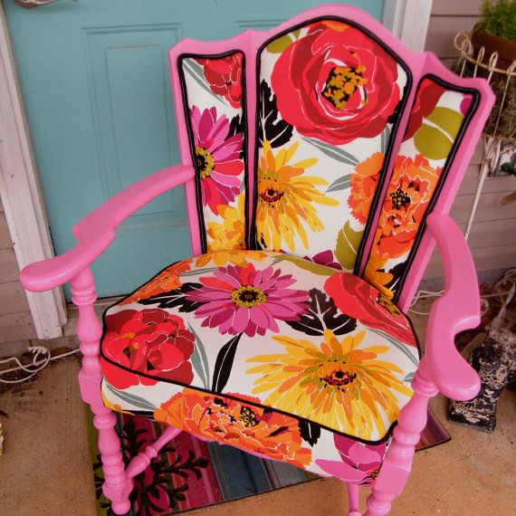 Love the re-upholstered and painted vintage chairs