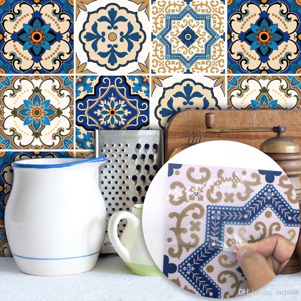 20 20cm Moroccan Vinyl Decals Pvc Waterproof Mural Self Adhesive Wallpaper Kitchen Furniture Bathroom Diy Arab Tile Sticker Nursery Stickers Nursery Wall Decal Bathroom Art Decor Bathroom Wall Stickers Decorative Wall Tiles