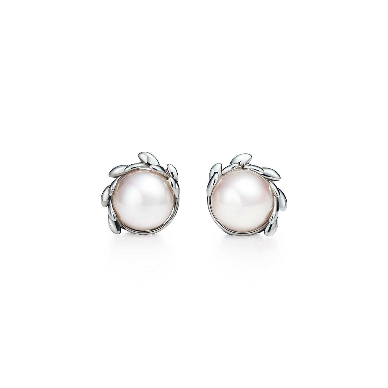 0ebd6f07a Olive Leaf Pearl Earrings in 2019 | Pretty | Tiffany pearl earrings ...