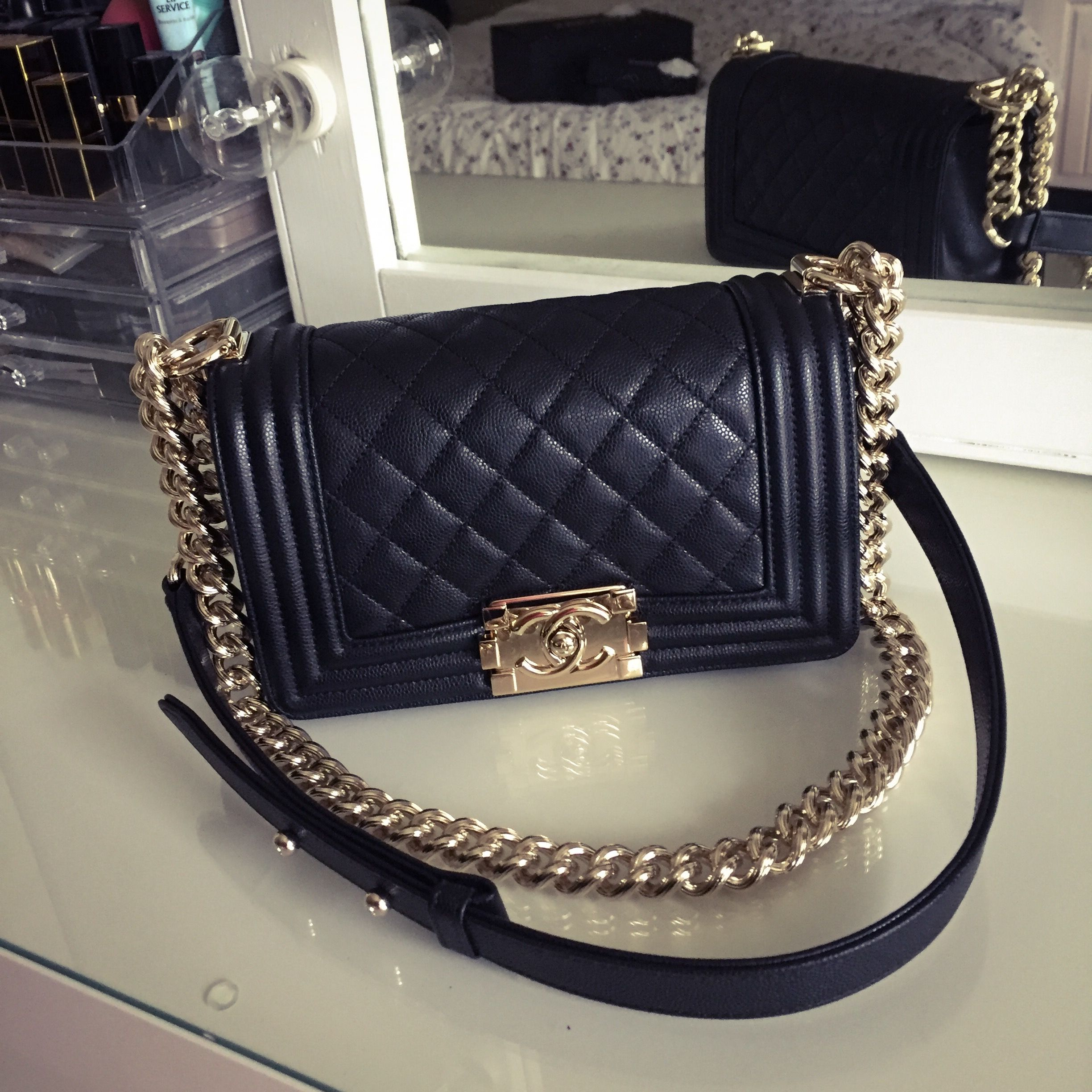 e84548475210 Le Boy Chanel in black caviar with shiny gold hardware