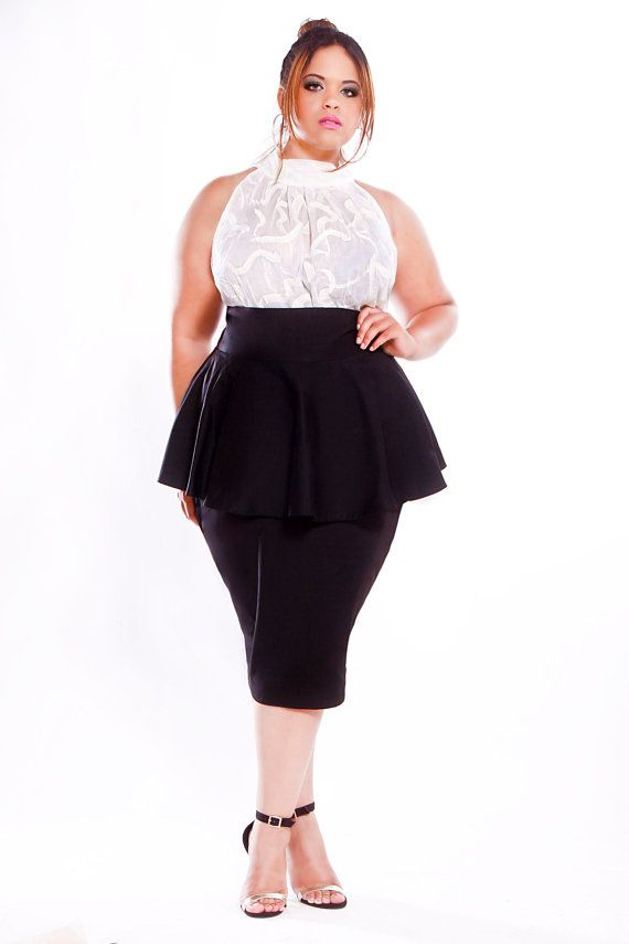 786fd4bff049e JIBRI Plus Size High Waist Pencil Skirt w Peplum