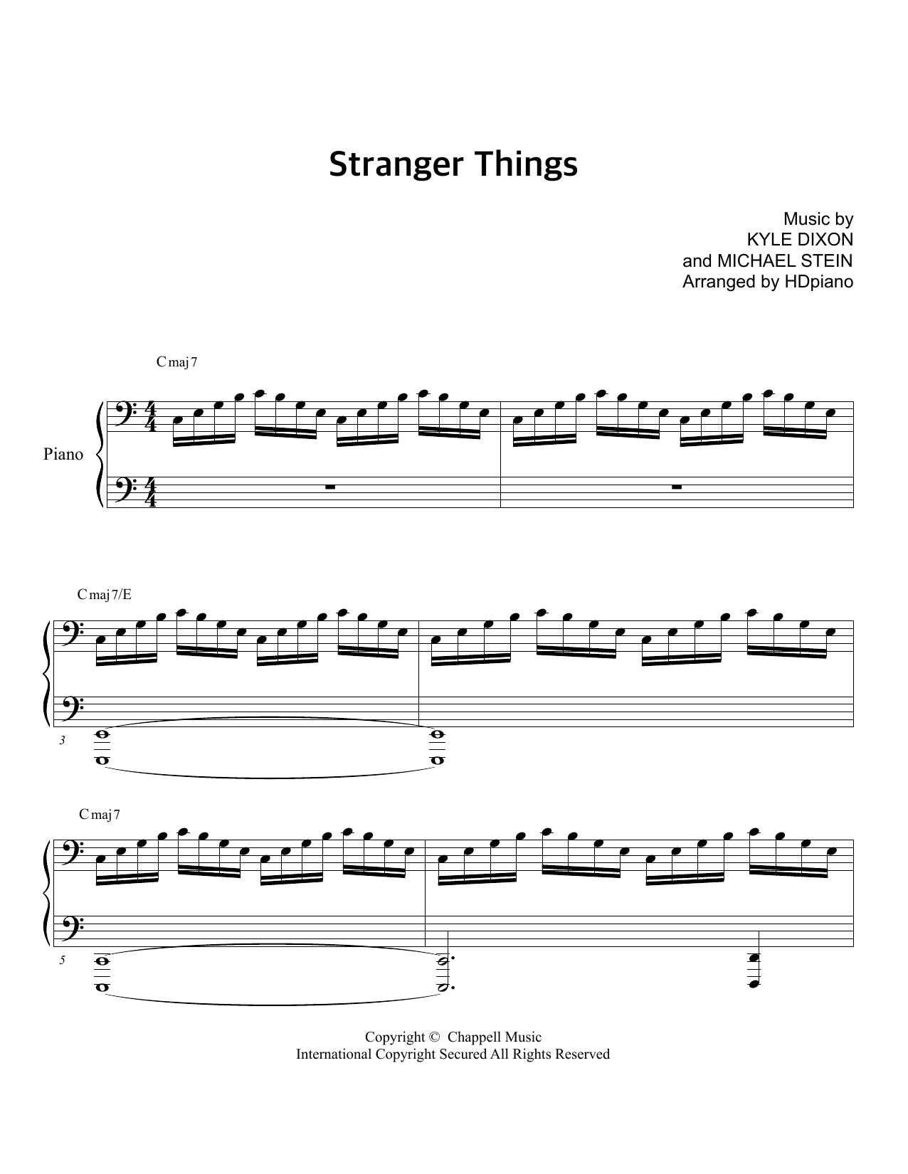 Download HDpiano sheet music to Stranger Things Opening