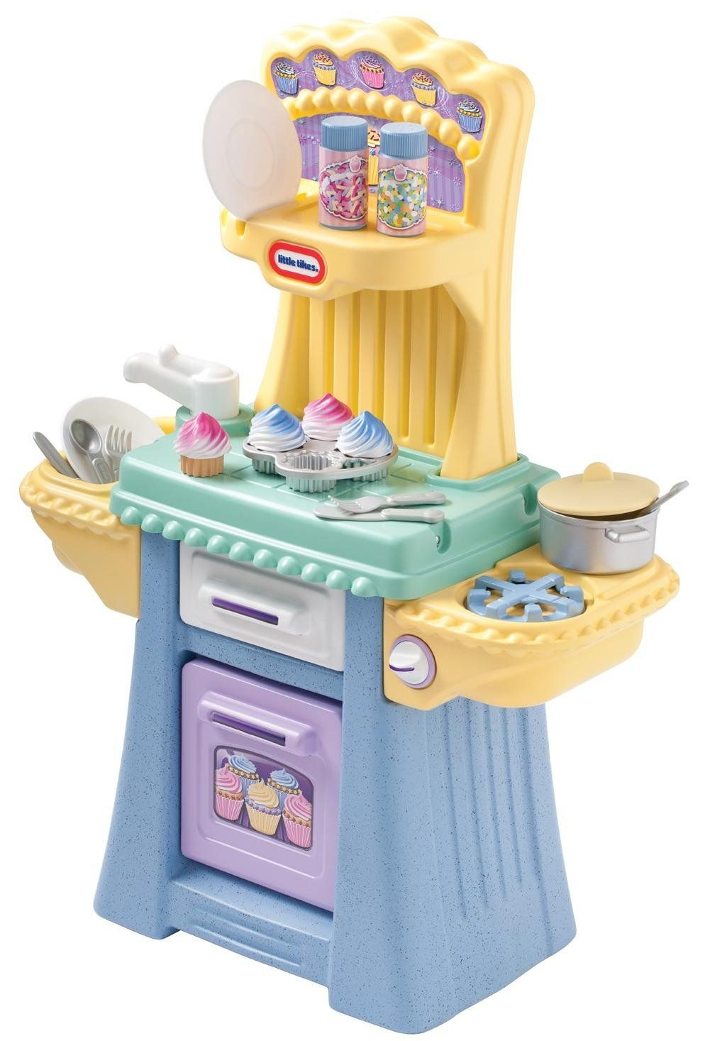 Ages 2 and up, but wow, a cute cupcake kitchen by Little Tikes ...