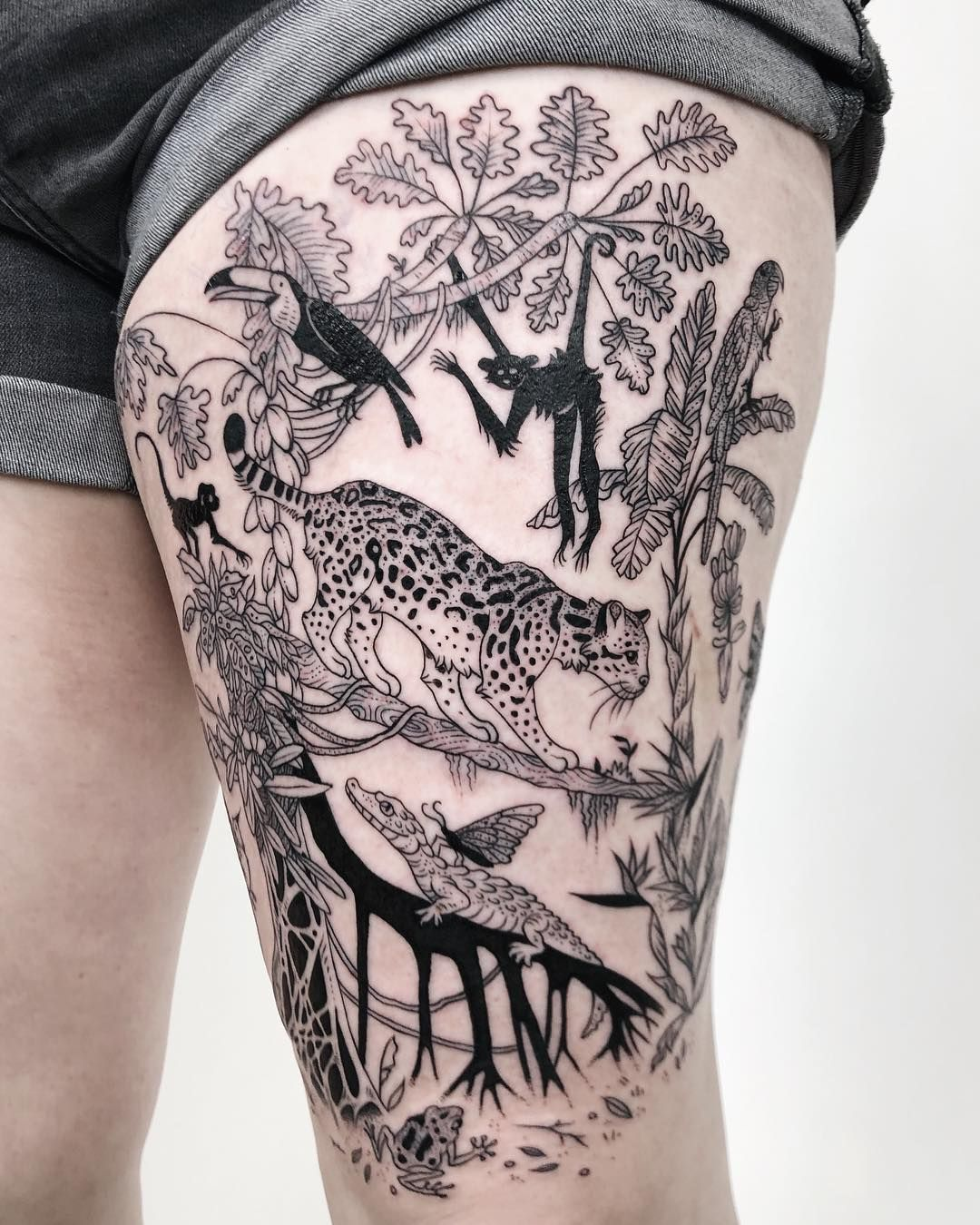 """Photo of Pony Reinhardt Tattoo on Instagram: """"Return from the jungle to a jungle: ocelot, with caiman's tear-feeding butterflies, black spider monkeys, battle of the walking tree and…"""""""