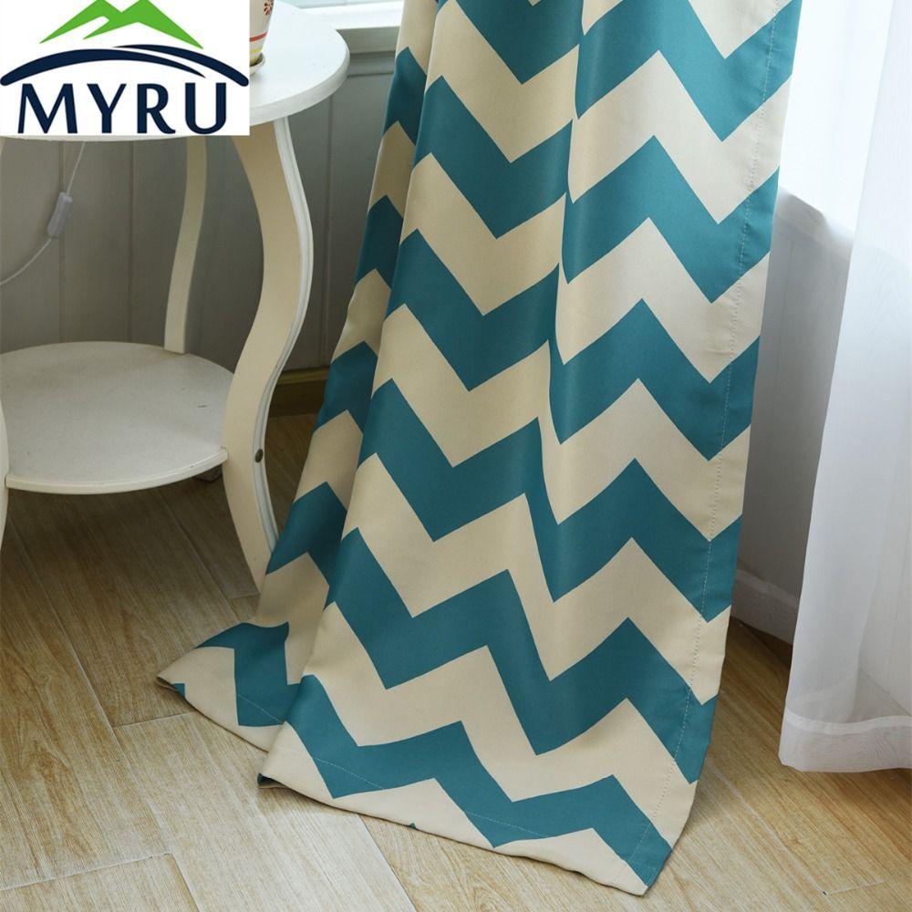 Myru venus mediterranean striped shading cloth curtain living room