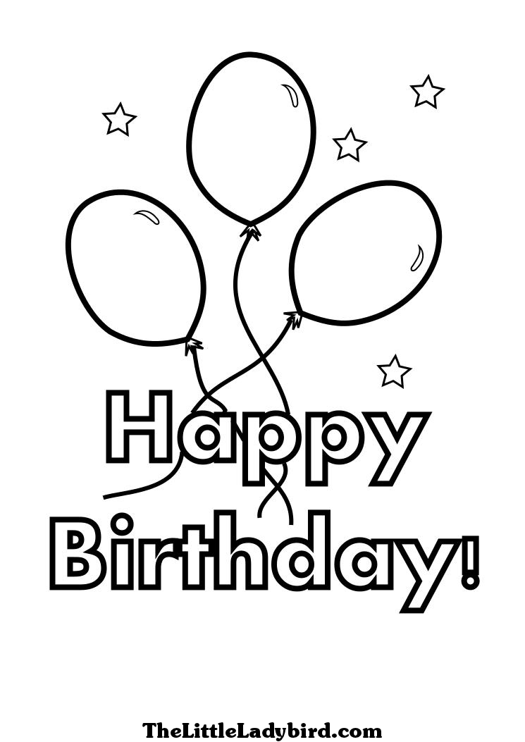 Happy Birthday Coloring Page with Balloons and Stars