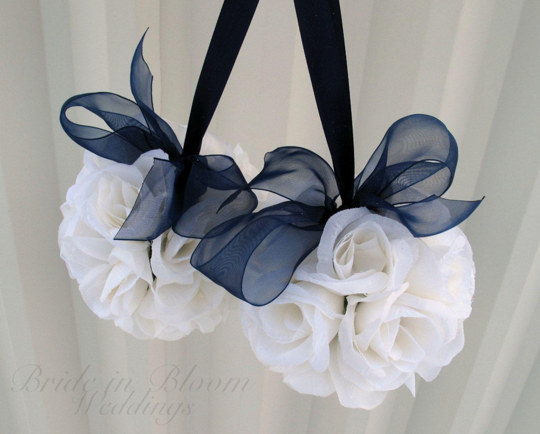 Wedding Flower Pomander Navy Blue Decorations Ceremony Aisle Pew Markers On Etsy