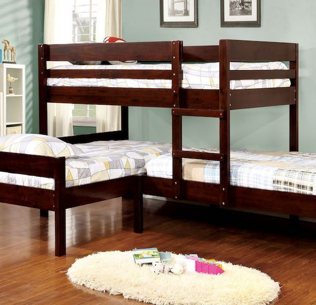 Tredal Espresso Corner 3 Piece Twin Bunk Bed Set Kid S Room Bunk