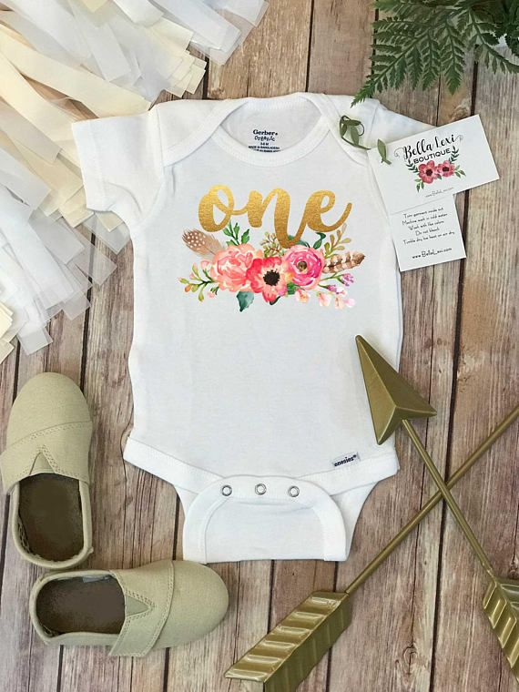 First Birthday OnesieR Floral Wreath One Baby Shirt Custom Personalized Girl Boho Peach