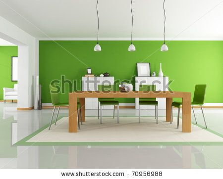 modern-dining-room-with-wooden-table-and-green-chair-rendering ...