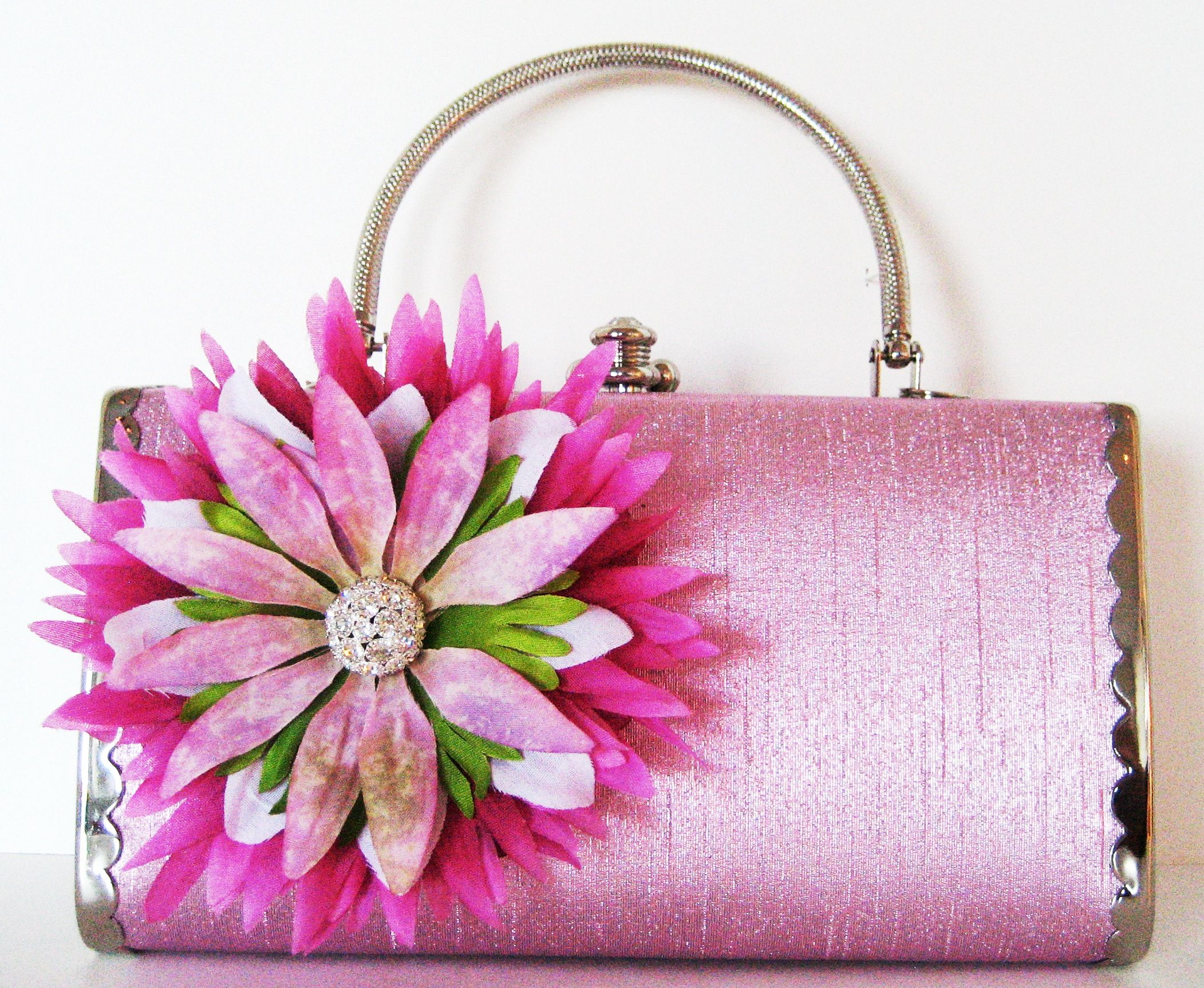 Spring Collection Tiffany Pink Handbag With Pink Green White