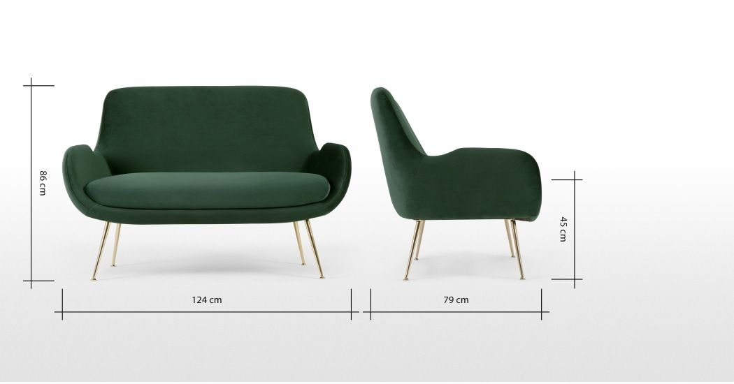 Moby 2 Zitsbank Dennengroen Fluweel Groene Bank Fluweel Vintage Sofa