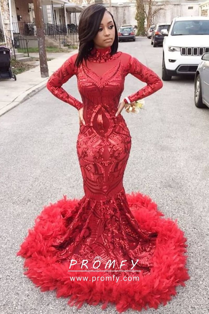 acabef90 red sequin and feather hemline prom dress. Red Sequin and Feather Hemline  Mermaid Floor Length Long ...