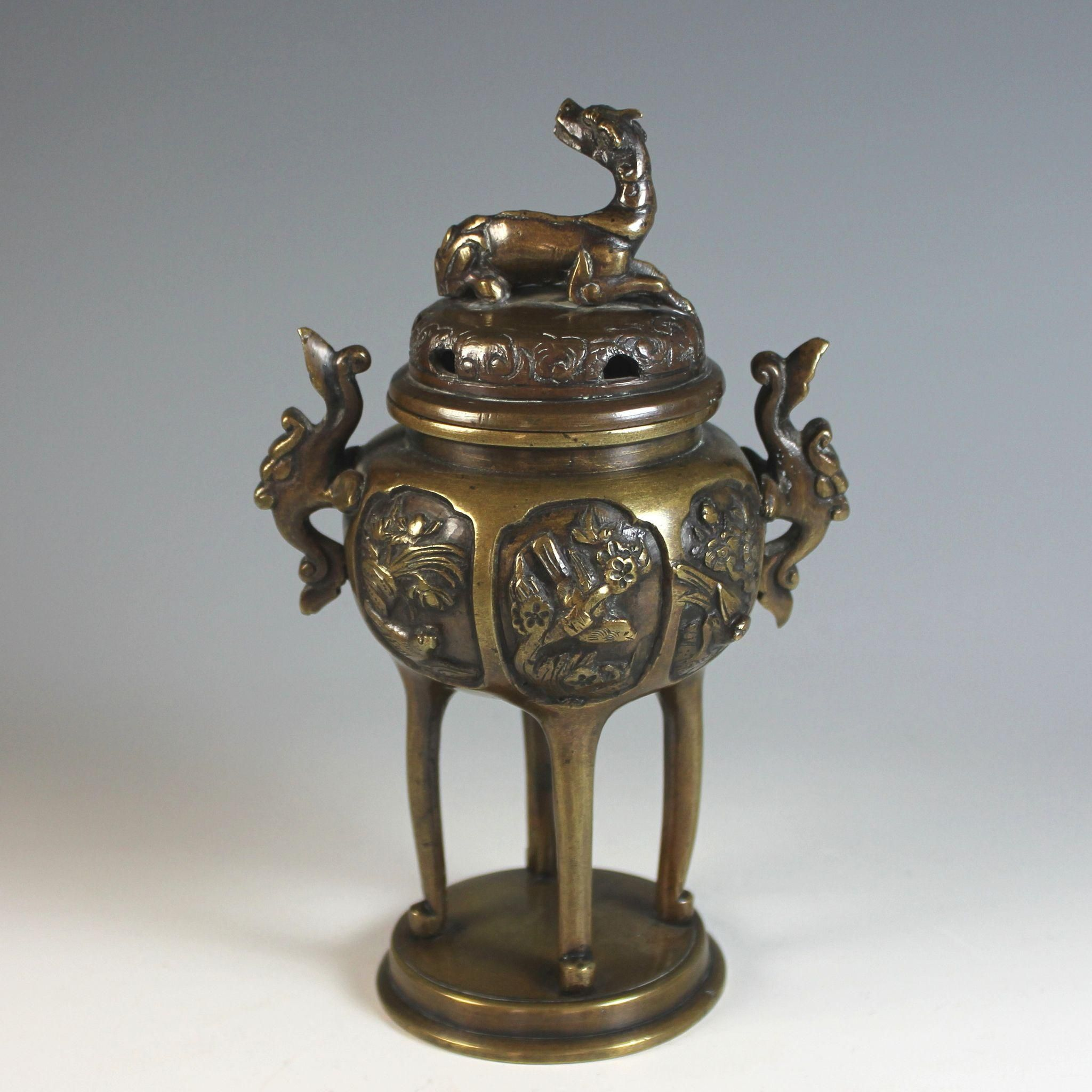 Antique Chinese Bronze Censer Brule Parfum With Birds And Foo Lion Chinese Bronze Antiques Censer