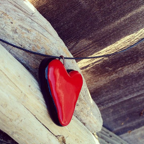Red and Black Polymer Clay Heart Necklace Custom Order by Cyclop
