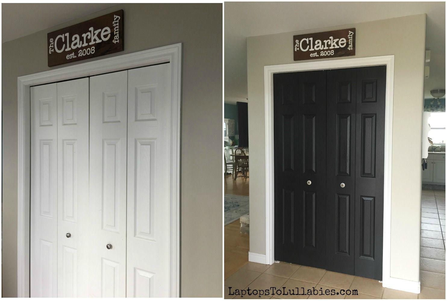 Painting Closet Doors Black Painted Closet Door Diy Projects