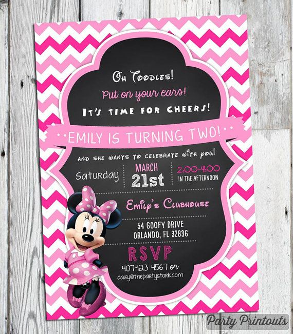 Minnie Birthday Invitation Printable Chalkboard Mouse Style Party Invite 1st 2nd 3rd Other Invitations Available