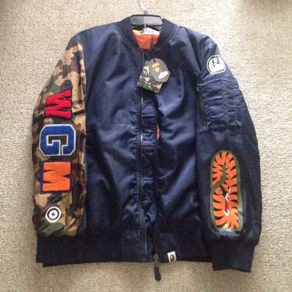 e26b17308e1b Authentic BAPE bomber jacket It s a XL but fits more as a large. Never worn  and new with tags. bape Jackets   Coats