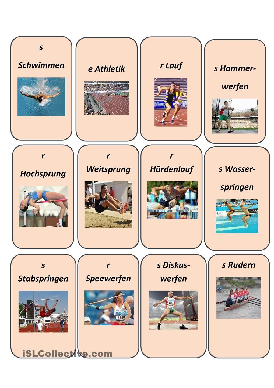 Sportarten | Sportarten, Deutsch und Deutsch lernen