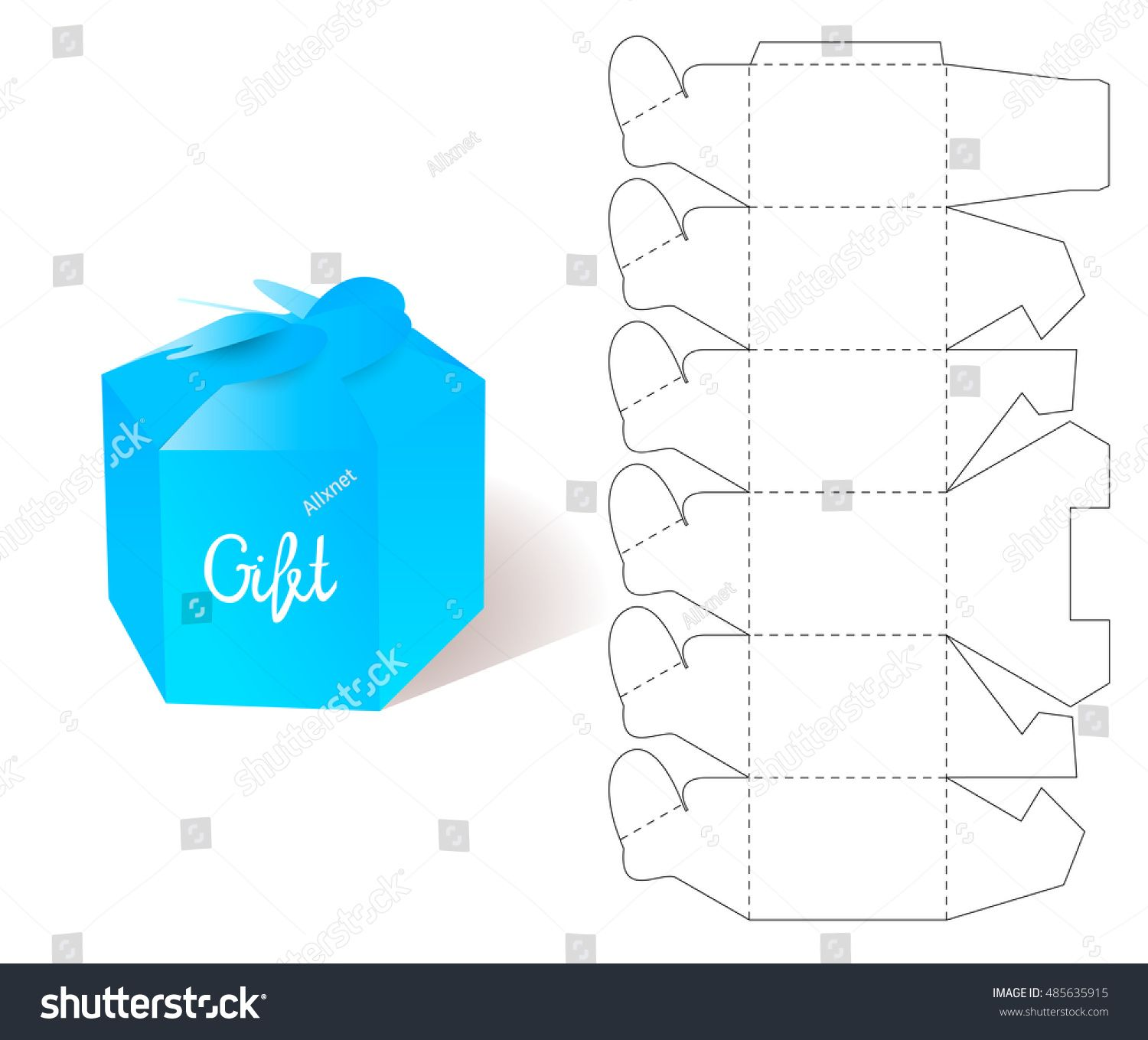 Box paper blueprint gift box craft mockup template retail paper blueprint gift box craft mockup template retail cardboard with die cut pattern malvernweather Image collections