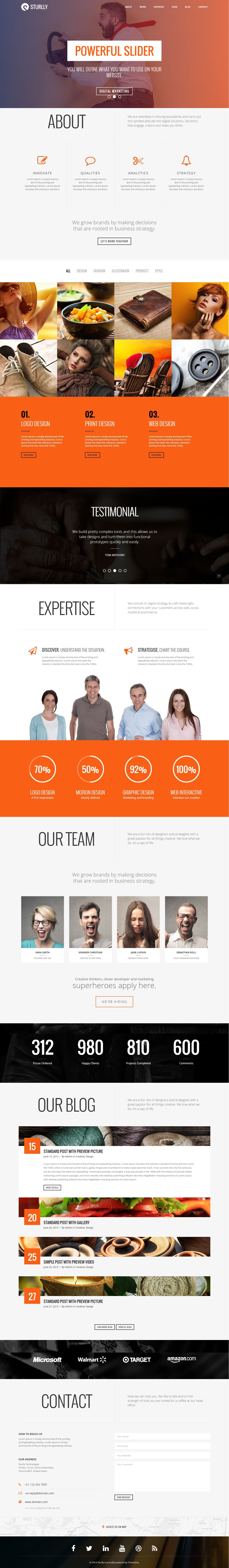 Multipurpose One Page Bootstrap Theme for Design Agency #website ...