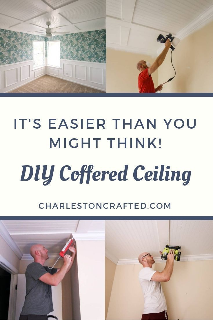 Diy Coffered Ceiling Over Popcorn