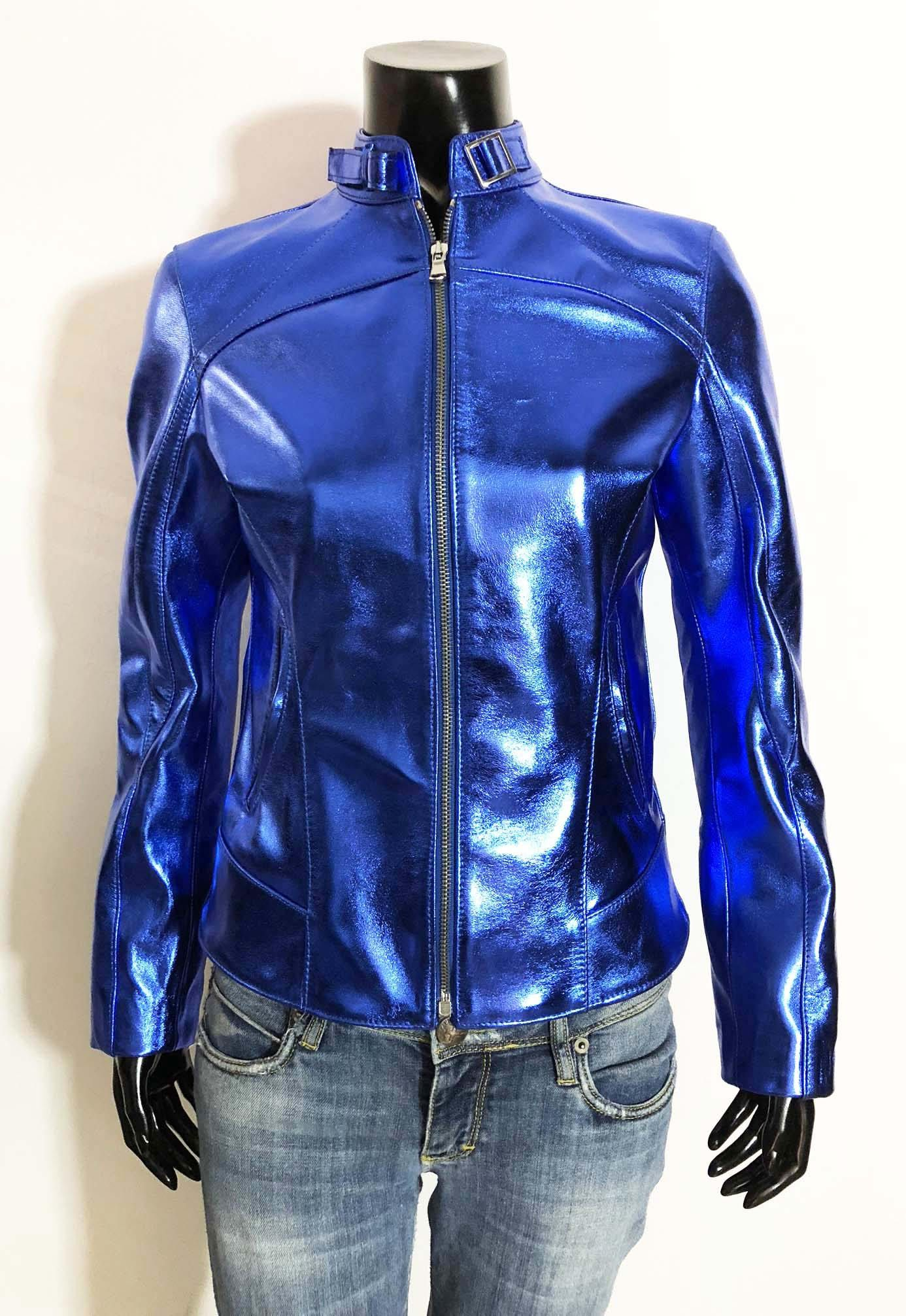 Metallic Blue women genuine lambskin leather jacket in