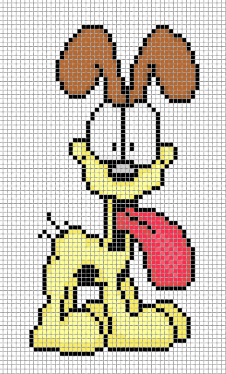 Odie Garfield Comic Perler Bead Design Chart Pixel Art Comics Crafts Perler Bead Art Pixel Art Minecraft Pixel Art