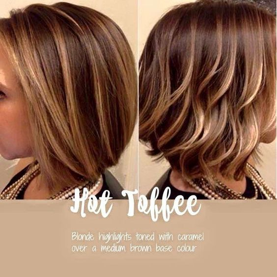 Hot Toffee Blonde And Caramel Highlights Over Brown Base Hair